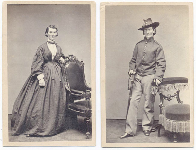 Frances Clayton, at left, wears a long dress typical of the 1860s. At right, she is seen in a Union soldier's uniform as Jack Williams.