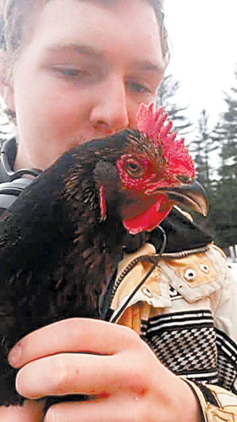 Forrest O'Connor holds his 9-year-old pet chicken Anna. (Photo provided by Kate Kelley)