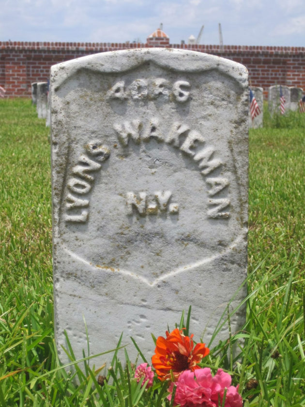 Sarah Rosetta Wakeman of Bainbridge (Chenango County) was buried as Lyons Wakeman, the name she used when she disguised herself as a man and enlisted in the 153rd New York Volunteer Infantry, which included soldiers from Essex and Clinton counties, including  three companies from Plattsburgh.