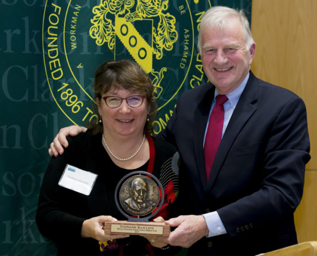 Clarkson University's highest community service honor, the Bertrand H. Snell Award, was bestowed upon Wild Center Executive Director Stephanie Ratcliffe, pictured with Clarkson President Tony Collins, right. (Photo provided)