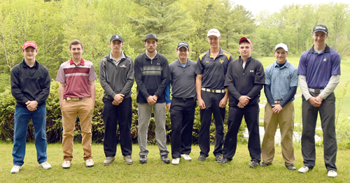 The players who will represent Section VII at the New York State Public High School Athletic Association golf championships at Cornell University gather for a team photo on Friday, May 26 at the Barracks Golf Course in Plattsburgh. The nine student-athletes selected to the team finished ninth or better in the individual competition at the two-day Section VII championship tournament. Players competing in the state tournament begin leaving today, and have two days of scheduled practice rounds today and Saturday. The state championships take place Sunday and Monday. From the left are Paul Fine-Lease (Willsboro), Evan Dyke (Beekmantown), Ryan Kane (Lake Placid), Tanner Courcelle (Saranac Lake), Gavin Plimpton (Peru), Bjorn Kroes (Lake Placid), Kyle Wilson (Moriah), Drew Maiorca (Lake Placid) and Joey Stahl (Moriah). (Enterprise photo — Lou Reuter)