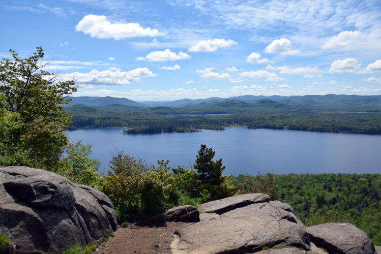 Piseco Lake is seen from Echo Cliffs on May 27. The lake has three state campgrounds whose management plans are being reviewed. (Enterprise photo — Justin A. Levine)