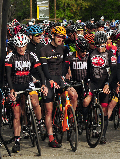 Kevin Bouchard-Hall, second from left, waits for the start of Sunday's race. The cyclist from Westport took fourth place in the event, and won the men's title in the Whiteface Challenge after placing first Saturday in the 100k mountain bike race. (Enterprise photo — Lou Reuter)