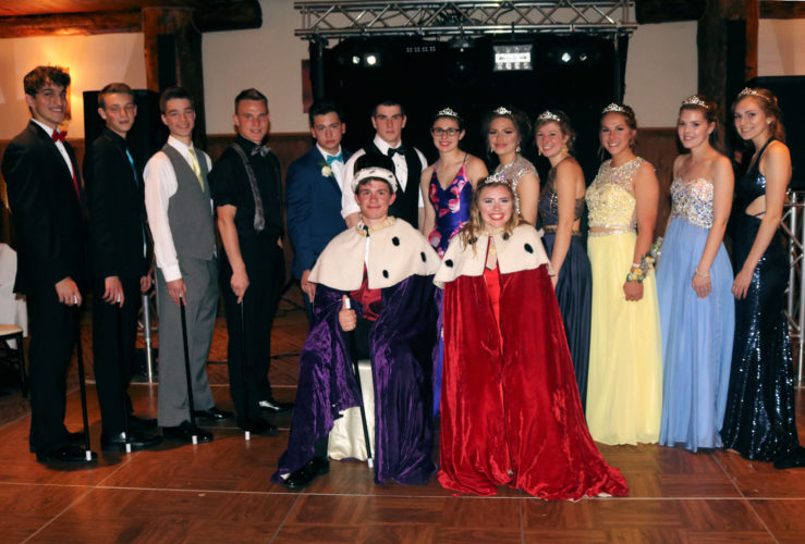 "The 2017 Saranac Lake High School Junior prom court and the prom king and queen were honored May 13 at the Whiteface Lodge and Resort. The theme for the evening was ""City Lights,"" and the festivities ended with the crowning of the court and the king and the queen. At front, King D.J. Morgan and Queen Alex Hill are pictured. The prom court, (back row, from left) are Julian Gambacurta, Jackson Carlisto, Emery Swanson, Jarrett Ashton, Colden Celeste, Brett Dawson, Natalie Dewey, Almedina Cirikovic, Roslyn McClatchie, Kayleigh Merrill, Savanna Donaldson and Maggie Peer. (Photo provided)"
