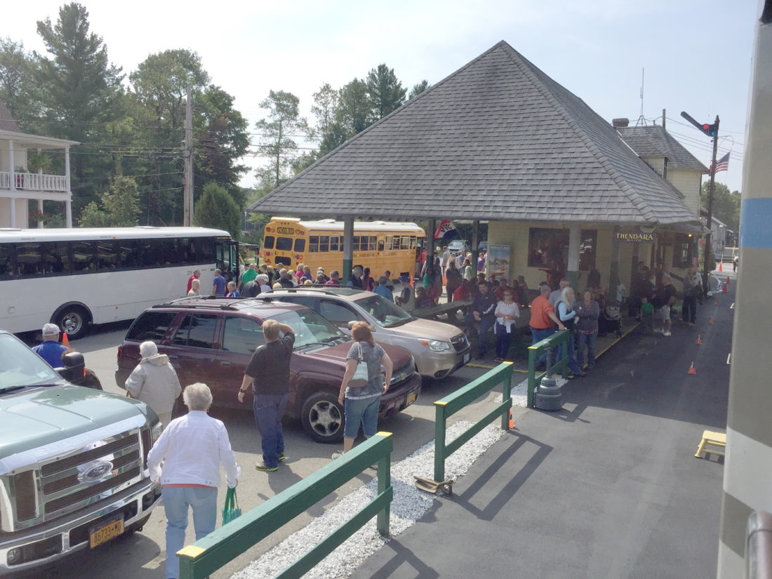 A crowd lines up for the Adirondack Scenic Railroad in Thendara near Old Forge, where trains go to and from Utica. (Photo provided by Larry Roth)