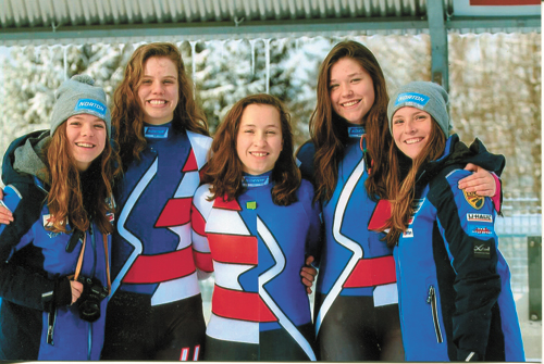 Sophie Kirkby, center, is joined by USA Luge junior teammates, from left, Brittany Arndt, Chevonne Forgan, Ashley Farquarson and Grace Weinberg. (Photo provided)