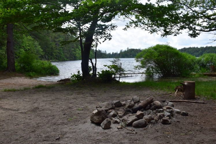 Floodwood Road campsite number 2 on the shore of Polliwog Pond, seen here Sunday, would be permanently closed under a DEC plan for the Saranac Lakes Wild Forest. (Enterprise photo — Justin A. Levine)