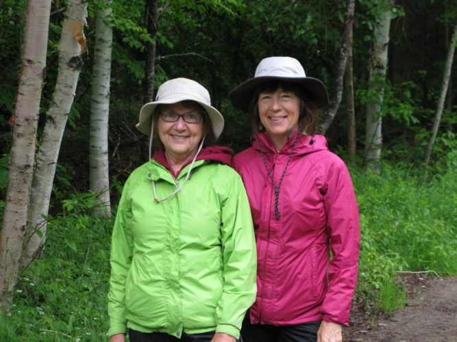 Adirondack Riverwalking — Helene Gibbons, right, and Suzanne Weirich of Adirondack Riverwalking now offer two outdoor guided experiences that are meant to enhance human wellbeing and foster human care for nature, riverwalking and forest bathing. Trips are taken at the Paul Smith's College VIC, Paul Smiths and LakePlacid. For more information, go to www.adirondackriverwalking.com.  (Enterprise photo — Susan Moore)