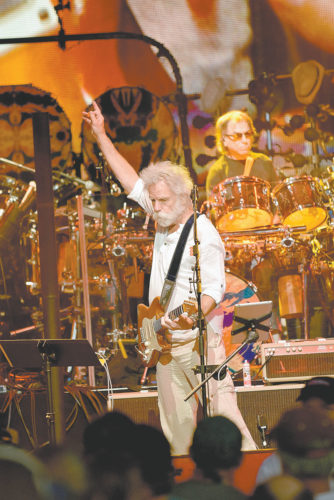 Bob Weir and Micky Hart, original members of the Grateful Dead, perform Tuesday at Saratoga Performing Arts Center as part of the Dead and Company's summer tour. (Enterprise photo — Justin A. Levine)