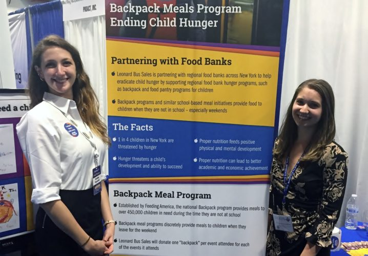 Pictured, from left, are Sales and Marketing Coordinator for Leonard Bus Sales Jourdan Pignatelli and Regional Food Bank of Northeastern New York Child Hunger Corps Member Kassandra Martinchek at the  at the Leonard Bus Sales Booth during the New York State Association of School Business Officials Expo in Lake Placid. Leonard Bus Sales has announced that it is  partnering with The Regional Food Bank of Northeastern New York, and six other regional food banks, to help end child hunger and raise awareness of the importance of supporting local food banks throughout New York state. Leonard Bus Sales is supporting school-based backpack and food pantry programs that provide meals to children when they are not in school.  The company will be donating $5, the average cost to feed one child over a weekend, per attendee at the New York State Association of School Business Officials Expo held June 4-7 at the Lake Placid.  (Photo provided)