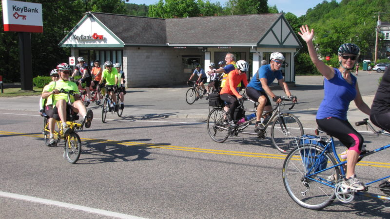 Tandem bikers ride through Saranac Lake Saturday during the eighth annual Saranac Lake Tandem Rally, which lasted from Friday to Sunday, organized by local business Gear-To-Go Tandems, owned by Rich Chapiro and Lindy Ellis. (Photo provided —  Ken Youngblood)