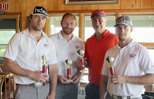 The Lakeside Masonry team of Pat McHugh, Adam Reynolds, Curt Hayes and Tom Niederbuhl poses with their trophies after taking first place in Saranac Lake 5th Quarter Club's fifth annual golf tournament Saturday, June 10 at the Saranac Lake Golf Club in Ray Brook. (Photo provided)