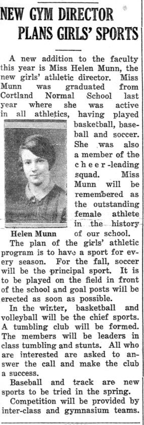 Saranac Lake High School's new gym teacher in 1933 was accomplished and ambitious for the time about establishing girls sports here.