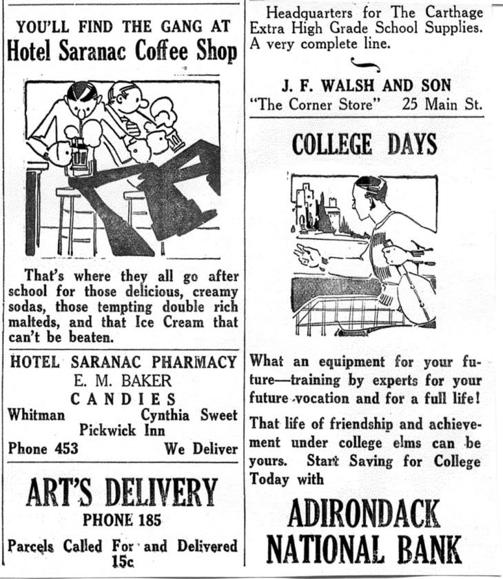 Here are some of The Red and White's advertisements in September 1933.