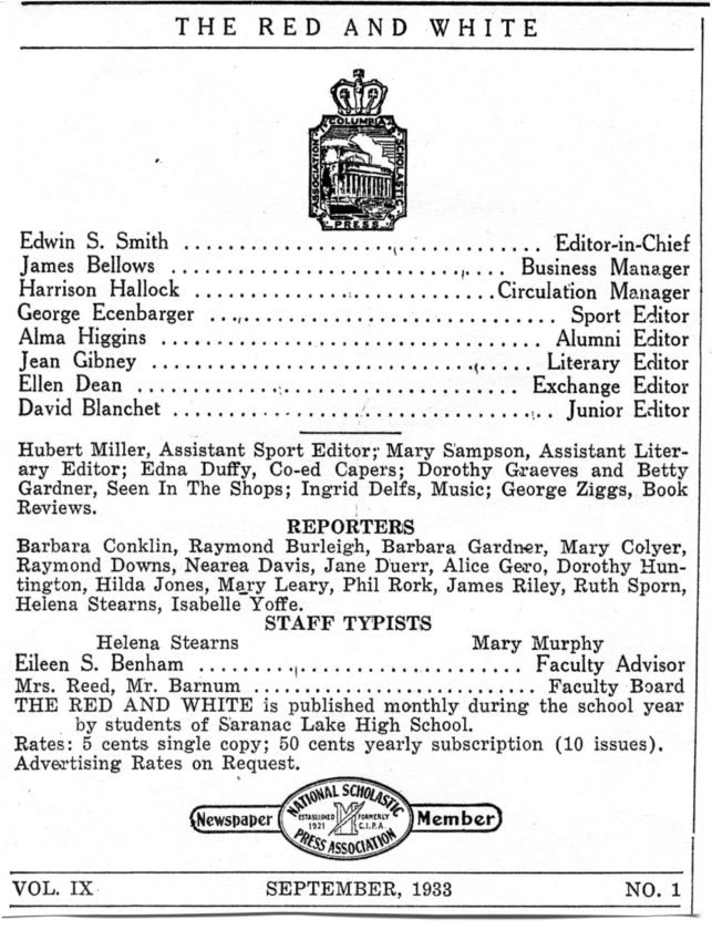 The masthead of Saranac Lake High School's student newspaper is seen in September 1933.