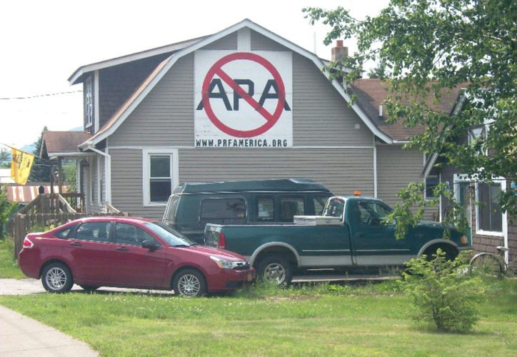 The Adirondack Experience museum is acquiring this sign protesting the state Adirondack Park Agency from the side of Ted Galusha's house in Warrensburg. (Photo provided by the Adirondack Experience)