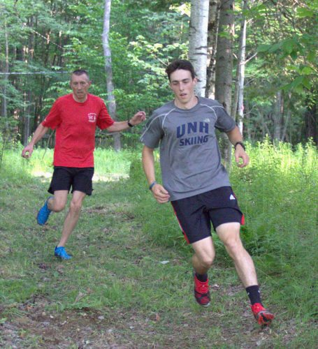 Saranac Lakers Bryce Hartman, right, and Joe Garso make their way through the trails of Dewey Mountain last Wednesday. (Photo provided)
