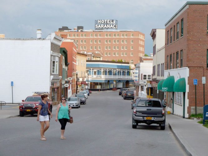 The Hotel Saranac is seen from Broadway in downtown Saranac Lake.  (Enterprise photo — Peter Crowley)