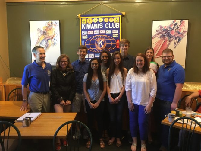 Saranac Lake Kiwanis held its annual Key Club breakfast recently. Graduating members of the Kiwanis Key Club were presented pins and fun books, enjoyed breakfast and talked about their future plans. Pictured, from left, are Dan Reilly of Kiwanis, Erica Swirsky (returning lt. governor), Witter Swanson, Jada Meadows, Silas Swanson, advisor Christine Bell with her Key Club beach ball, Jonathan Kellogg of the Aktion Club, and in the front row, Eshna Prajapati, Elodie Linck, and advisor Stephanie Bluestein. Missing from photo are Katy Hunt, Alivia Sapone, Hannah, Latour, and Logan Hochwald and Maria Rothaupt of the Big Buddy program. (Photo provided)
