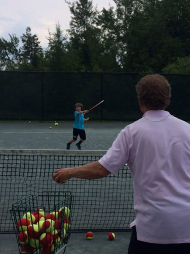 Thomas Reynolds of Lake Placid participates in a Whiteface Club Tennis Center youth clinic.  (Photo provided — Diane Chase)