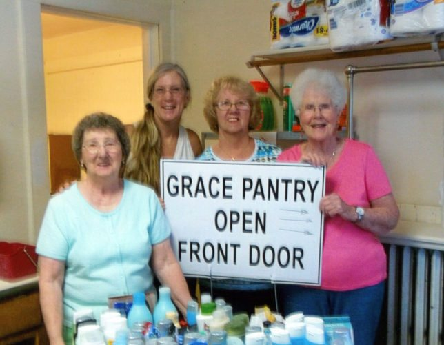 Catholic Daughters Court St. Bernard's No. 787 of Saranac Lake sponsored a shampoo drive for Grace Pantry located at St. Luke's Episcopal Church, during the month of June. Pictured from left are members Judy Bibeau (chairwoman), Maggie Mortensen (Grace Pantry chairwoman), Virginia Shelhamer and Dorothy Metz. (Photo provided)