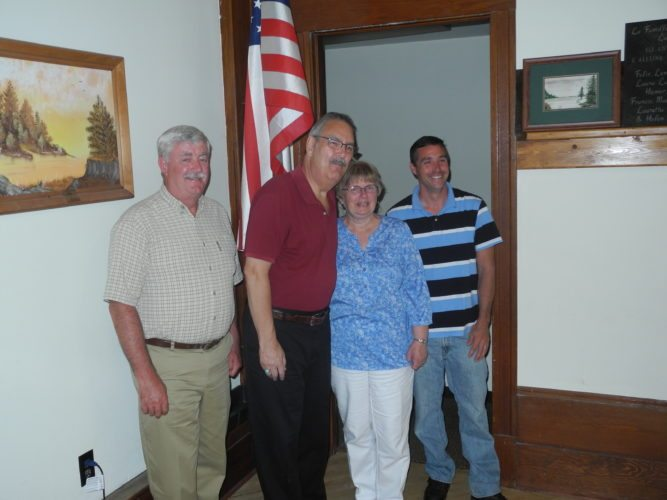 Democrats from the village and town of Tupper Lake gathered in the Aaron Maddox Hall Monday to nominate candidates for town supervisor, town councilman and village board. From left are John Quinn, Dean Lefebvre, Kathleen Lefebvre and Ron Lascala. (Enterprise photo — Aaron Cerbone)