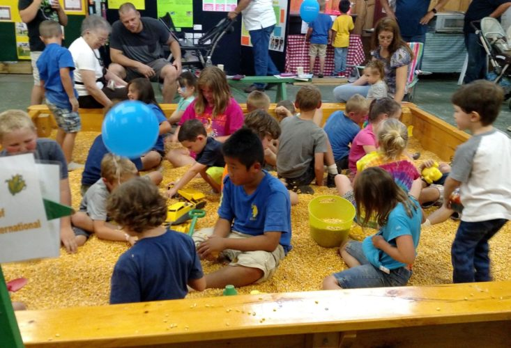 Children play in the 'Corn Corral' while parents relax at the 4-H Youth Building at the Franklin County Fair. (Photo provided)