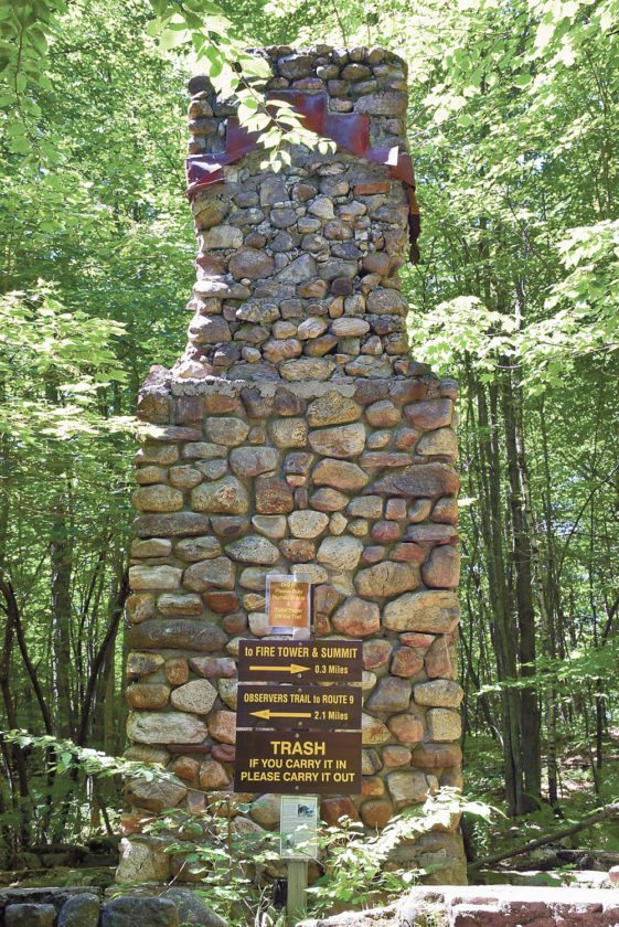The old Ranger Trail and the newer DEC trail join at the site of the old observer's cabin just shy of the summit.  (Enterprise photo — Justin A. Levine)