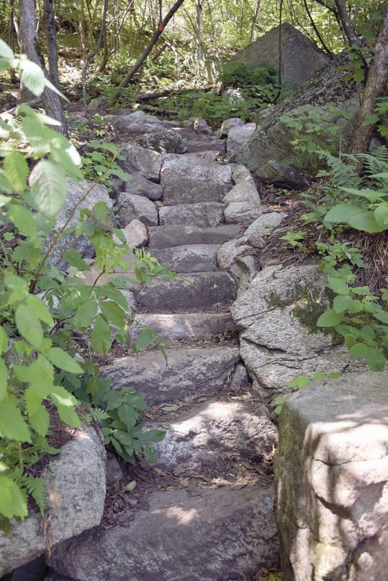 Friends of Poke-O-Moonshine have raised money for and completed about $200,000 worth of work on the Ranger Trail, including numerous stone staircases that cut down on erosion. (Enterprise photo — Justin A. Levine)