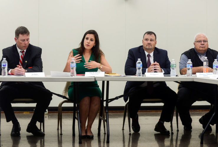 U.S. Rep. Elise Stefanik speaks Thursday at the Dulles State Office Building in Watertown at a roundtable discussion about the state of broadband internet in the North Country. (Photo provided — Watertown Daily Times)