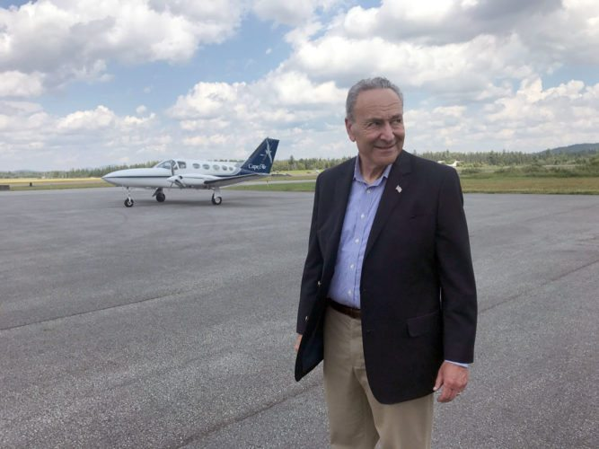U.S. Senate Minority Leader Charles Schumer, D-N.Y., visits Adirondack Regional Airport in Lake Clear Friday. (Photo provided by Sen. Schumer's office)