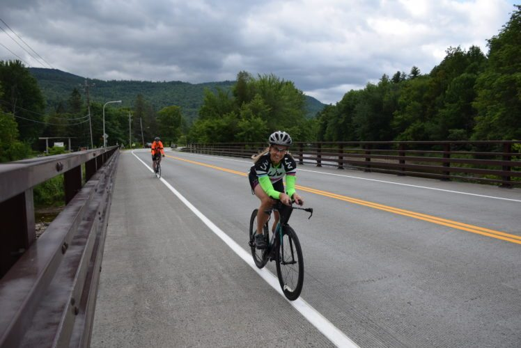 A pair of riders warms up for the New York state Championship Time Trials in Jay on Sunday morning. Results will be in Tuesday's Enterprise. (Enterprise photo — Justin A. Levine)