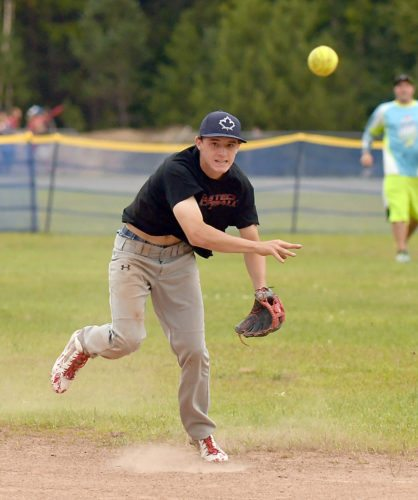 Romano's shortstop Tristin Fitzgerald fires the ball to first base for an out during Tuesday's game against Bitters and Bones. (Enterprise photo — Lou Reuter)