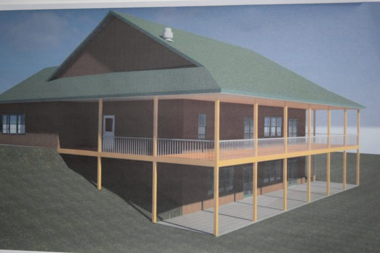 An architect's rendering shows the design of the proposed community center at Kate Mountain Park in Vermontville.