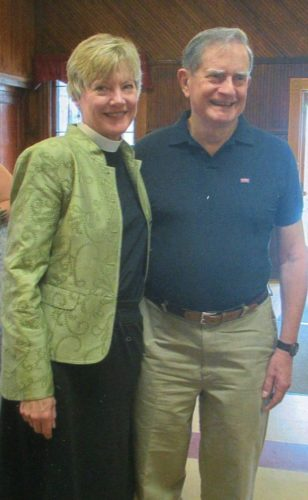 Ann and Lee Gaillard laugh and smile at a luncheon held Aug. 6 to bid them farewell from Saranac Lake, where Ann was rector of St. Luke's Episcopal Church for the past nine-and-a-half years. (Photo provided — Chris Schmeichel)