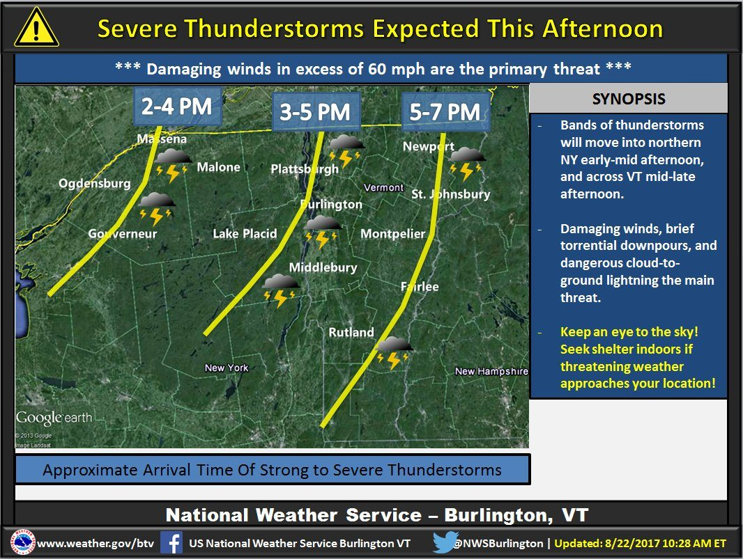 Humid Afternoon, Cold Front on the Way; Tornado Watch Issued in Vermont