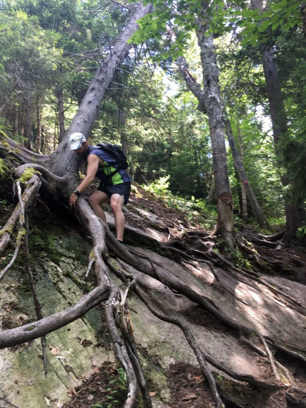 Enterprise Sports Editor Morgan Ryan descends a tricky section of Scarface Mountain, one of the Saranac Lake 6, in summer 2016. (Enterprise photo — Antonio Olivero)