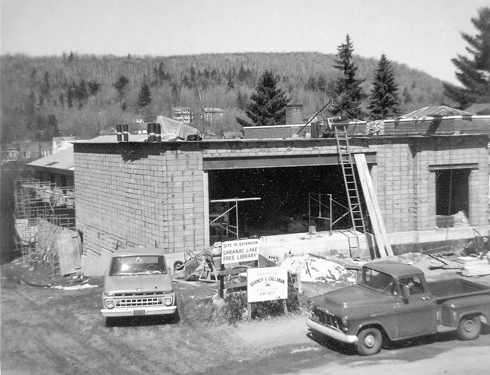 The 1968 addition to the library (Photograph #83.554 Courtesy of Adirondack Collection, SLFL)