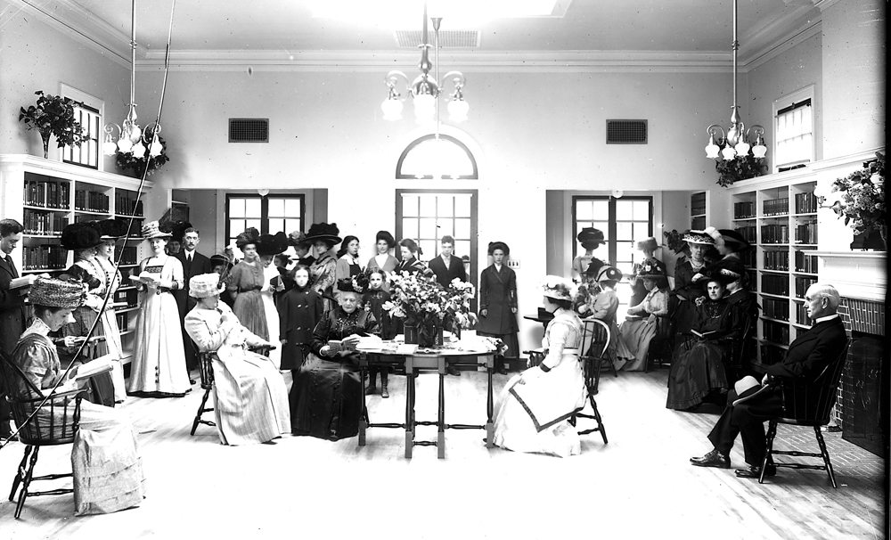 The Ladies' Auxiliary Board of the Saranac Lake Free Library is seen at a reception. This photograph was first published in the Adirondack Daily Enterprise on July 10, 1910. (Photograph #85.15K, courtesy of the Adirondack Collection, SLFL)
