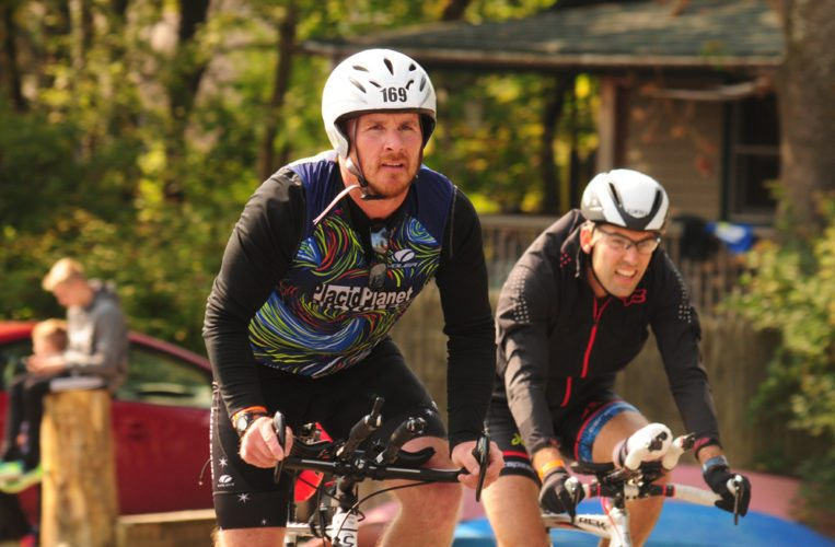 Jay Niederbuhl, of Bloomingdale, stays focused as he nears the end of the bike course. (Enterprise photo — Morgan Ryan)