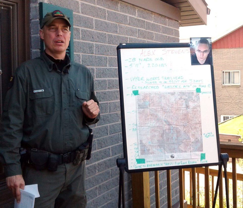 Brian Dubay of the state Department of Environmental Conservation forest rangers says he remains optimistic in a search for Alex Stevens of New Jersey. (Enterprise photo — Glynis Hart)