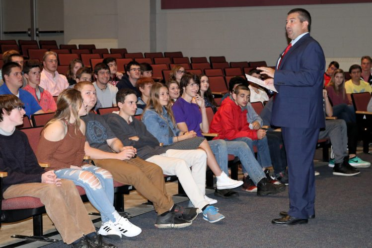 Saranac Lake High School Principal Josh Dann addresses seniors in September. (Photo provided)