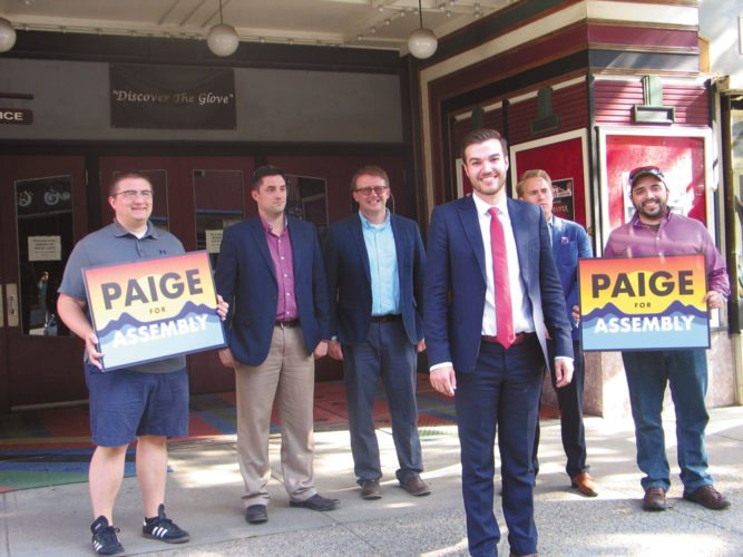 Philip Paige, a Republican from Madrid, announces his state Assembly campaign Monday at a stop in Gloversville, vying for the seat to be vacated by Marc Butler. Behind him are, from left, Jack Moulton, Nick Wildey, Mayor Dayton King, Ben Eddy and Trevor Bender. (Photo provided — Briana O'Hara,  The Leader-Herald)