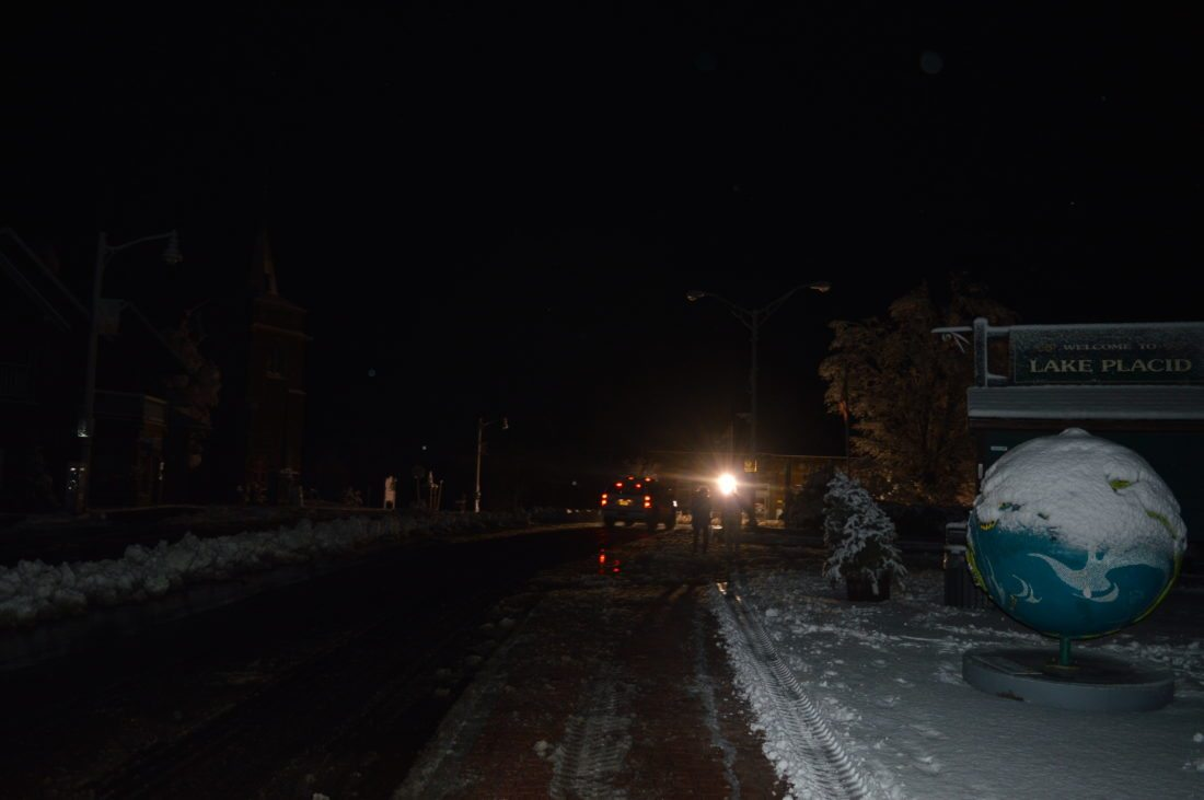 Main Street in Lake Placid is in view without power in February during a 19-hour overnight outage that left this village without power during a busy weekend of tourism and events. (Enterprise photo -- Antonio Olivero)
