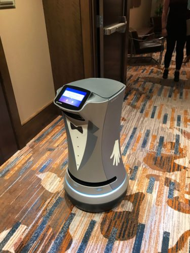 Chip the robot glides through the new Westin hotel in Buffalo last week. (Enterprise photo — Catherine Moore)