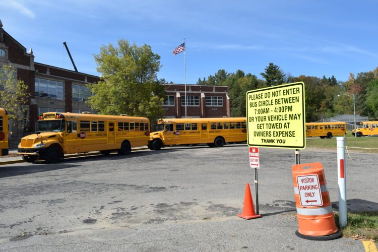 A design presented by Tetra Tech to the Saranac Lake school board Wednesday night would expand the bus circle so a total of 13 buses could fit head-to-tail in the bus circle.  (Enterprise photo — Glynis Hart)