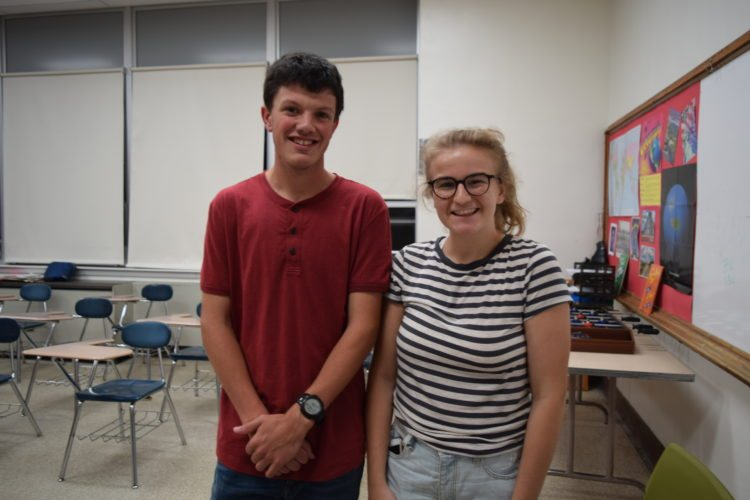 Sam Branch and Erica Swirski, both juniors at Saranac Lake High School, are the two new student members of the Saranac Lake School Board. (Enterprise photo — Glynis Hart)