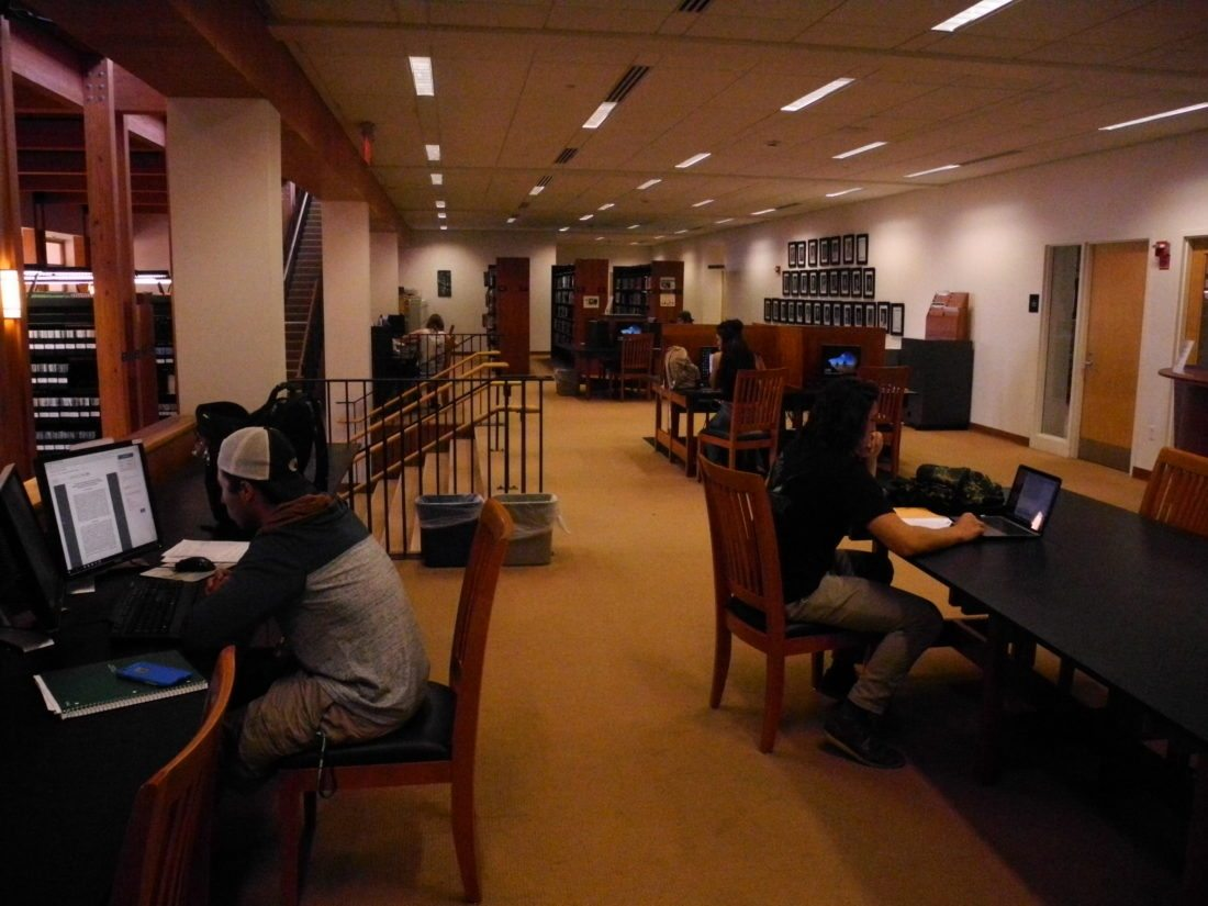 Paul Smith's College students study in the college's library. (Enterprise photo — Aaron Cerbone)