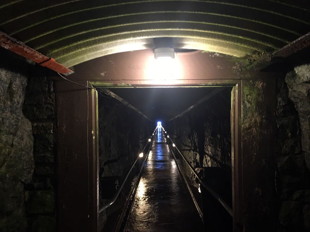 A tunnel to an elevator is seen inside Whiteface Mountain, at the top of the highway up the mountain, in August 2016. (Enterprise photo — Antonio Olivero)