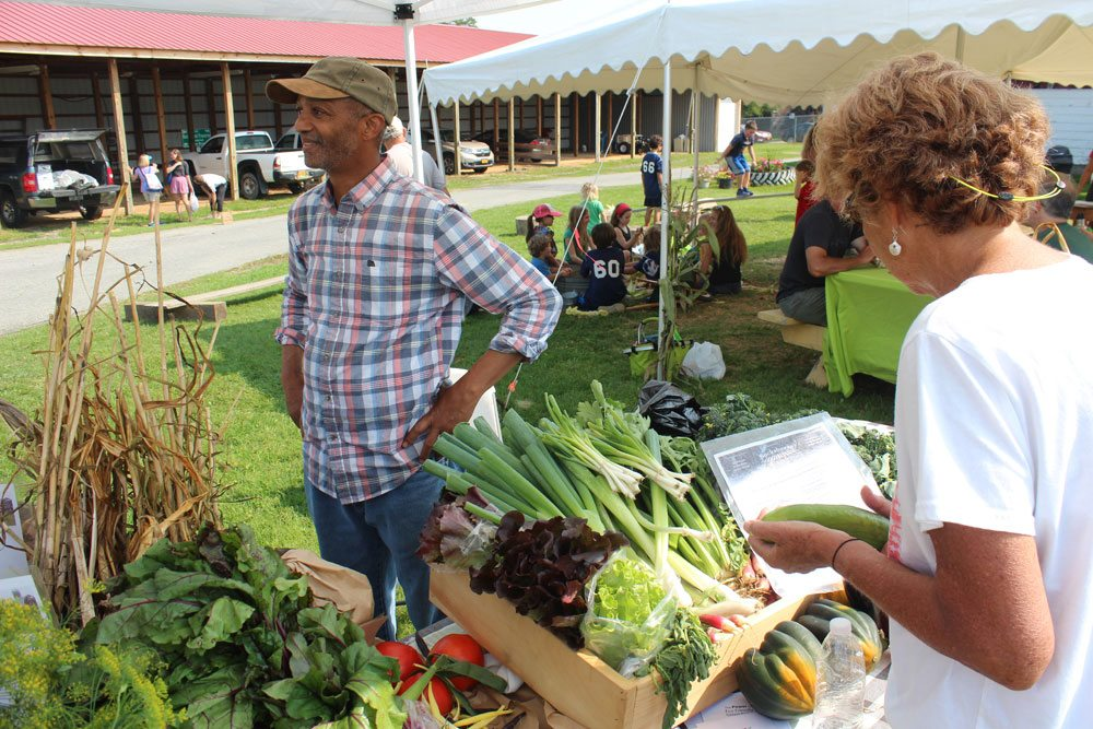 A customer makes her selections at a local vegetable grower's farm stand at the Adirondack Harvest Festival in Westport. (Photo provided)
